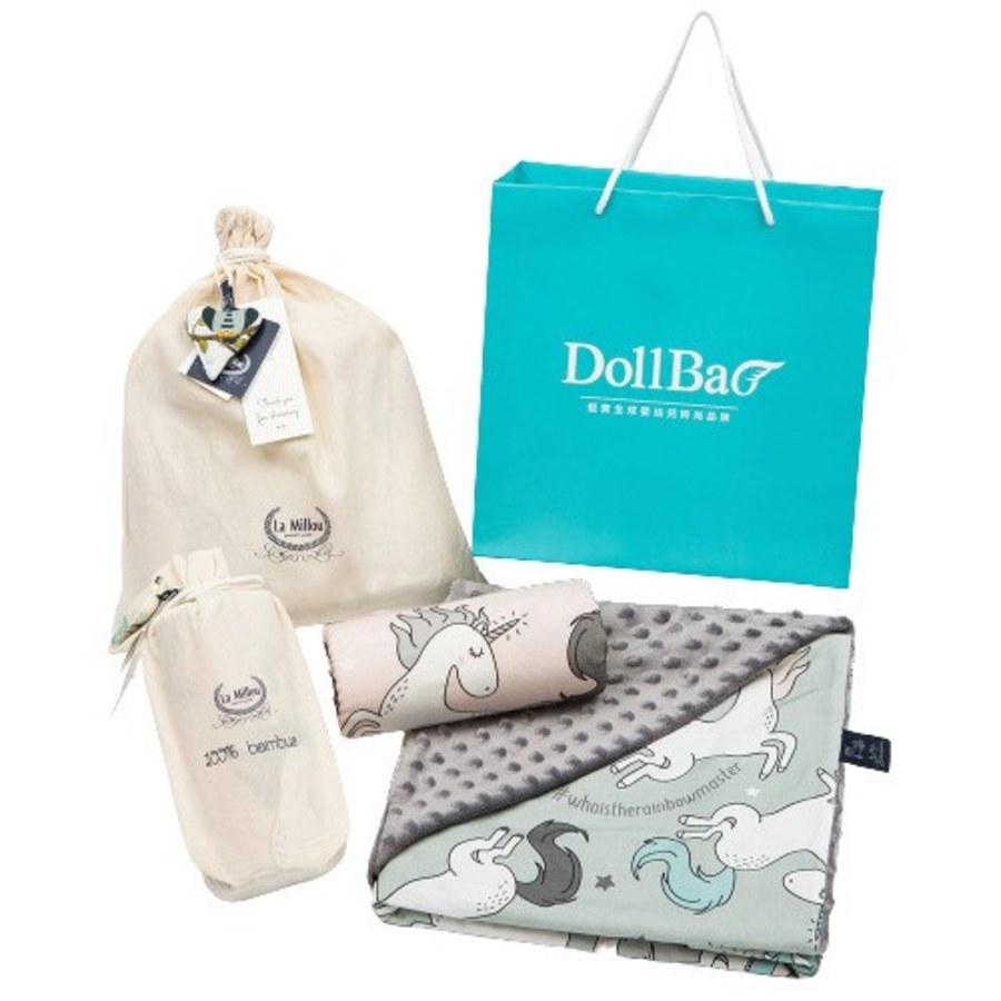 La Millou 送禮套組(竹纖涼感巾+單面巧柔豆豆毯)-贈送禮提袋
