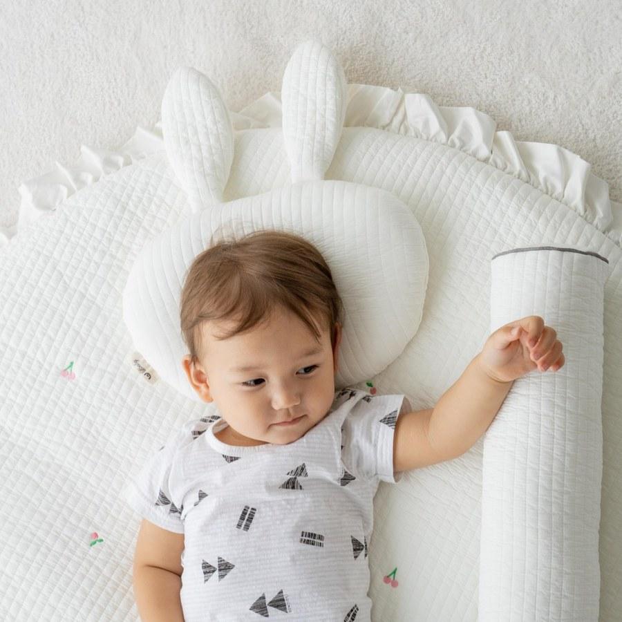 【韓國 lolbaby】3D立體純棉造型嬰兒枕(方形)-白