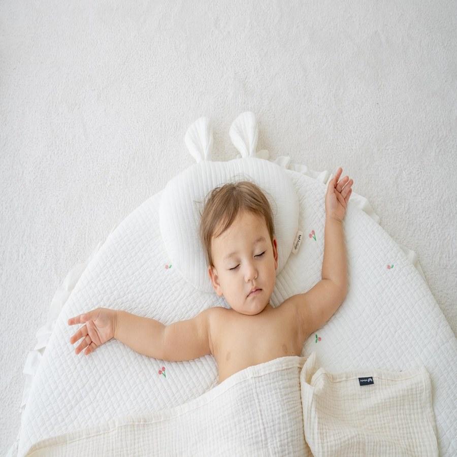 【韓國 lolbaby】3D立體純棉造型嬰兒枕(方形)-米