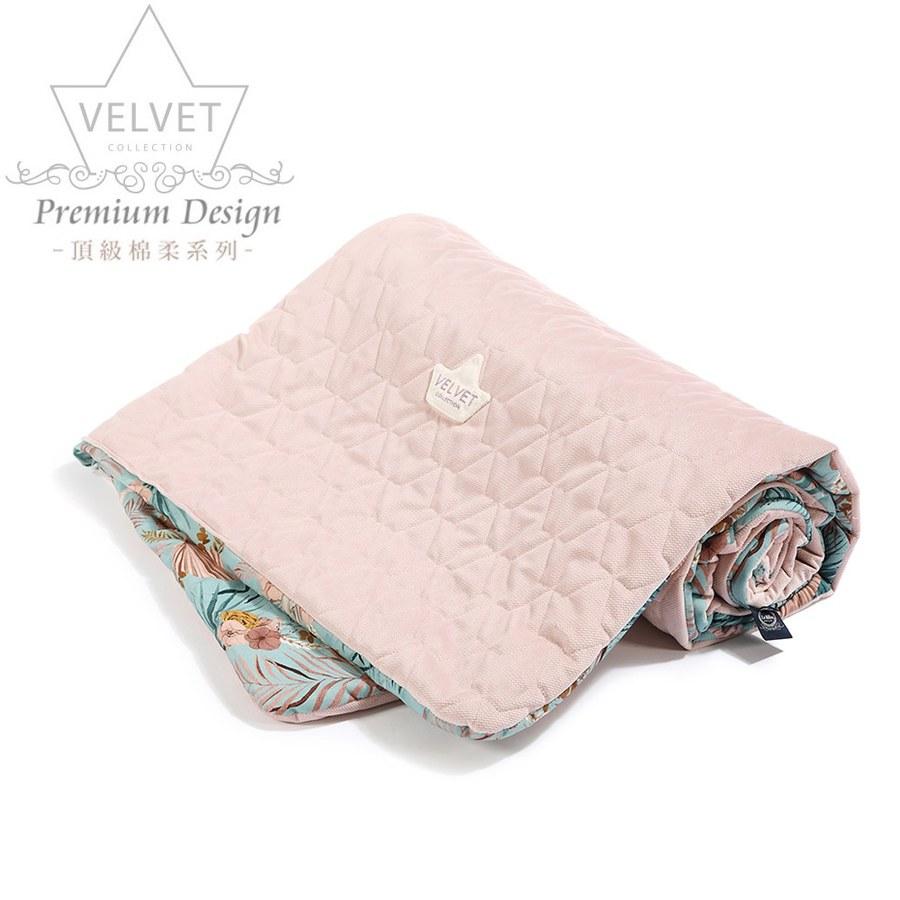 La Millou Velvet頂級棉柔系列雙面柔柔毯加大-棕櫚美妍花(綠底)-舒柔燻粉