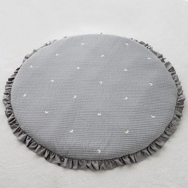 【韓國lolbaby】3D立體純棉圓形墊_刺繡款(星月灰)