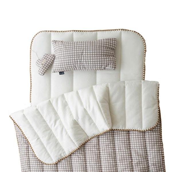 【韓國 lolbaby】超細纖維午睡毯枕墊3件組(格紋棕)