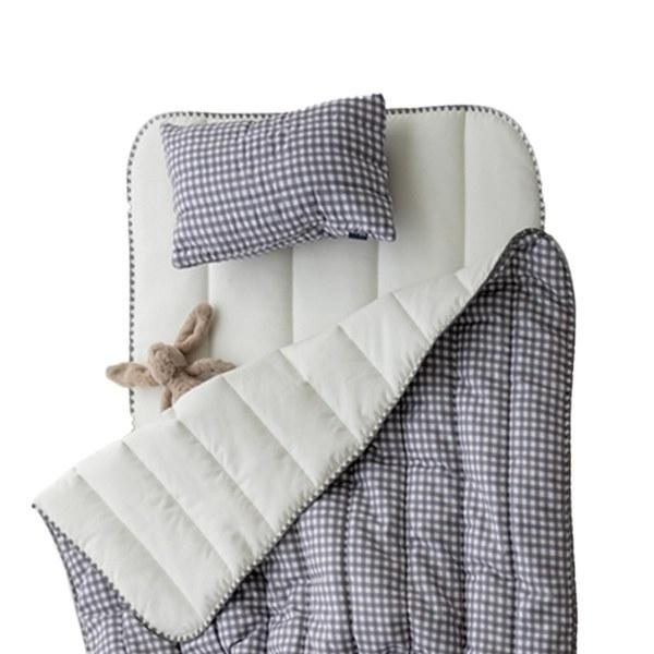 【韓國 lolbaby】超細纖維午睡毯枕墊3件組(格紋灰)