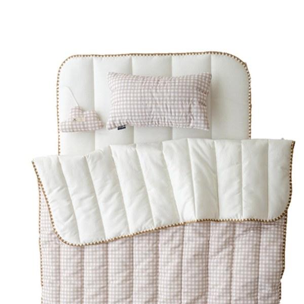【韓國 lolbaby】超細纖維午睡毯枕墊3件組(格紋米)