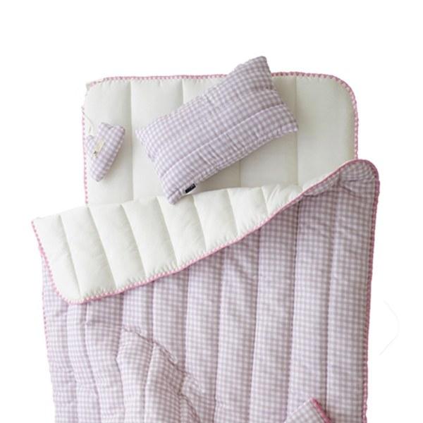 【韓國 lolbaby】超細纖維午睡毯枕墊3件組(格紋粉)