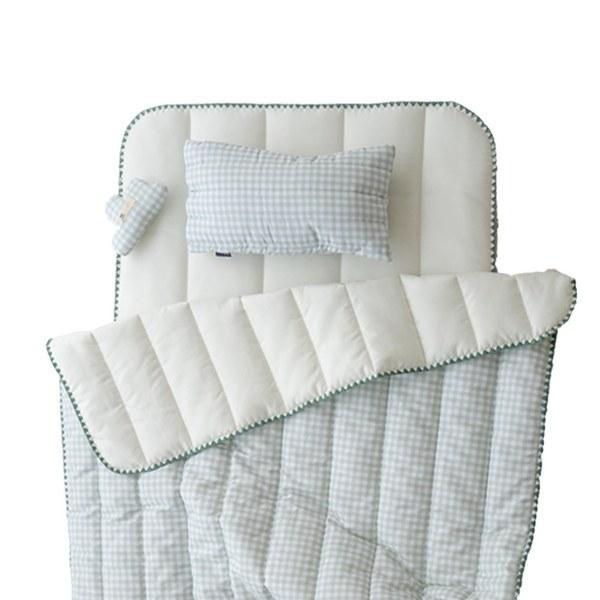 【韓國 lolbaby】超細纖維午睡毯枕墊3件組(格紋綠)