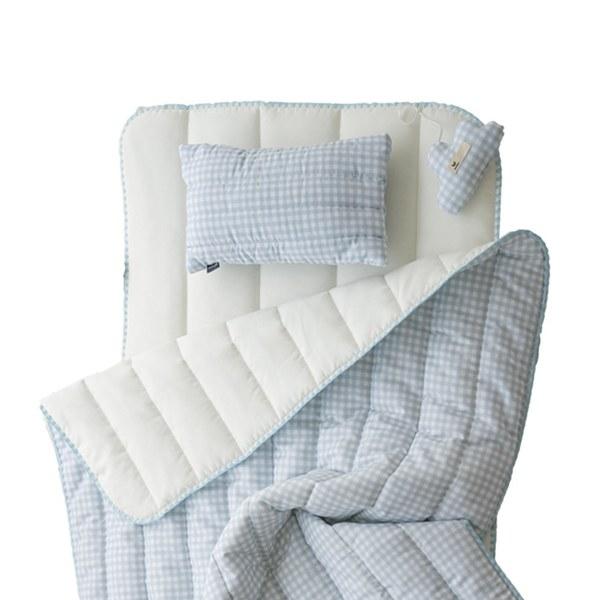 【韓國 lolbaby】超細纖維午睡毯枕墊3件組(格紋藍)