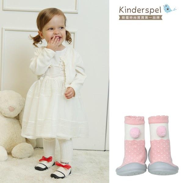 Kinderspel 輕柔細緻.套腳腳襪型學步鞋(13CM)-球球糖果粉
