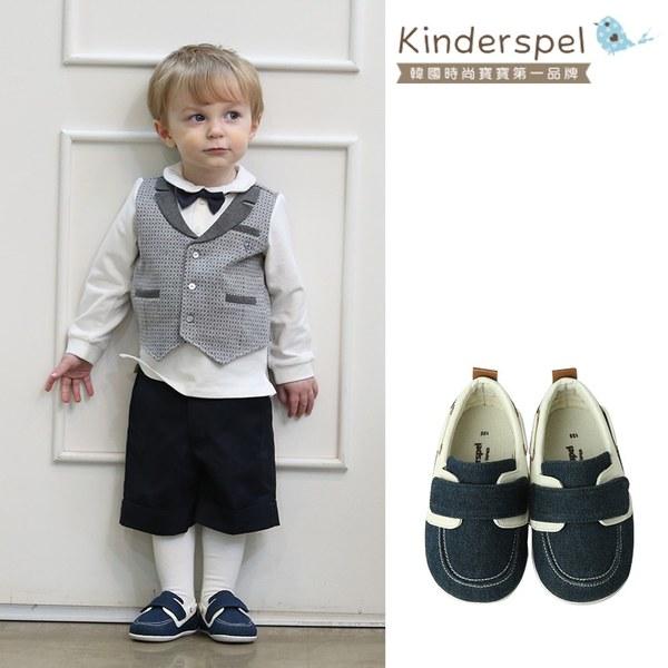 Kinderspel 輕柔細緻.郊遊趣休閒學步鞋(雷根黑藍)