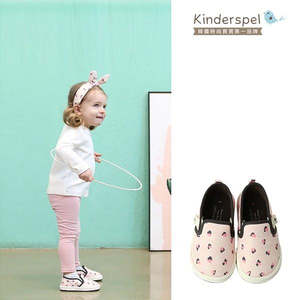 Kinderspel 輕柔細緻.郊遊趣休閒學步鞋(粉紅豹紋)