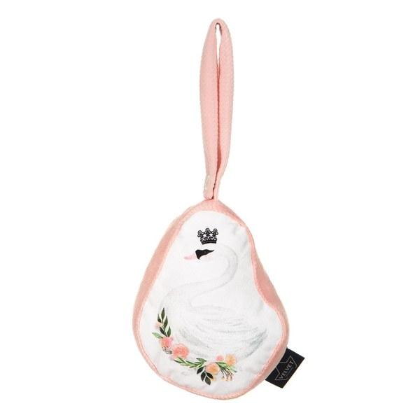 【La Millou限量非賣品】 Velvet頂級棉柔動物安撫搖鈴-芭蕾舞天鵝(白)-舒柔嫩粉