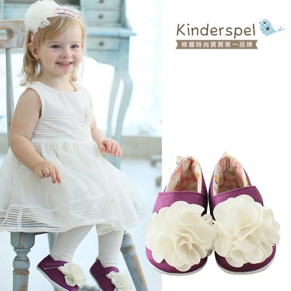 Kinderspel 輕柔細緻.棉花糖休閒學步鞋(紫紅蛋苞花-花朵)