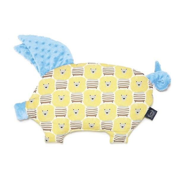 【原售價$1280】La Millou 豆豆小豬枕-蠟筆奶油獅(蒙地卡羅藍)