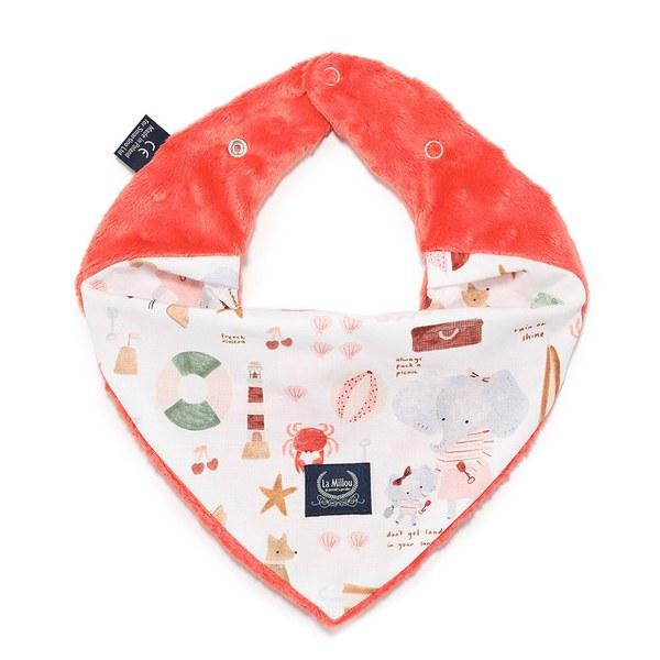 La Millou 豆豆圍兜領巾-海灘小象(紅)-粉橘小太陽