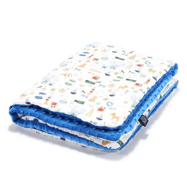 La Millou 暖膚豆豆毯-海灘小象(藍)-加勒比海藍