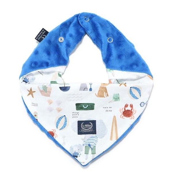 La Millou 豆豆圍兜領巾-海灘小象(藍)-加勒比海藍