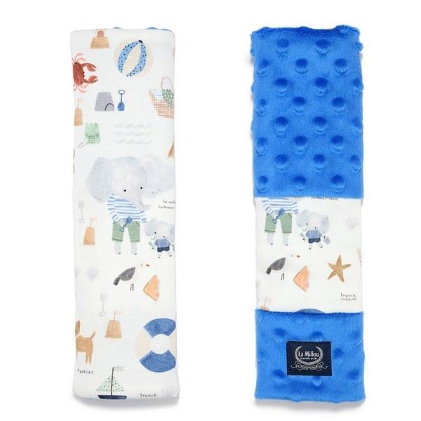 La Millou Jersey豆豆安全帶保護套-海灘小象(藍)-加勒比海藍