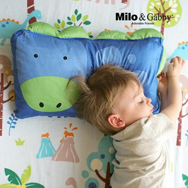 Milo & Gabby 動物好朋友-超細纖維防蹣抗菌mini枕心+枕套組(DYLAN恐龍)