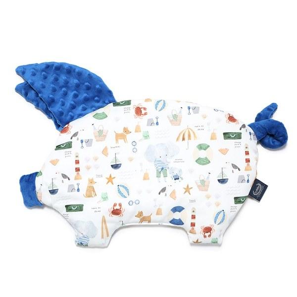 La Millou 豆豆小豬枕-海灘小象(藍)-加勒比海藍