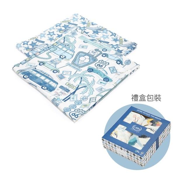 La Millou 100%竹纖銀離子紗布巾兩入組70x70cm-彩繪公路66號 II-贈送禮提袋