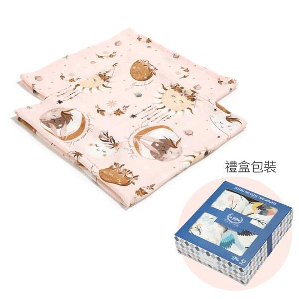 La Millou 100%竹纖銀離子紗布巾兩入組70x70cm-夢精靈波西(粉底)-贈送禮提袋