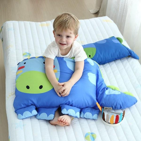 Milo & Gabby 動物好朋友-超細纖維防蟎大枕心+枕套組(DYLAN印第安恐龍)