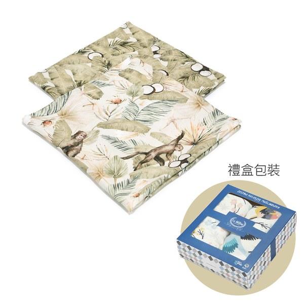 La Millou 100%竹纖銀離子紗布巾兩入組70x70cm-棕櫚可可樹-贈送禮提袋