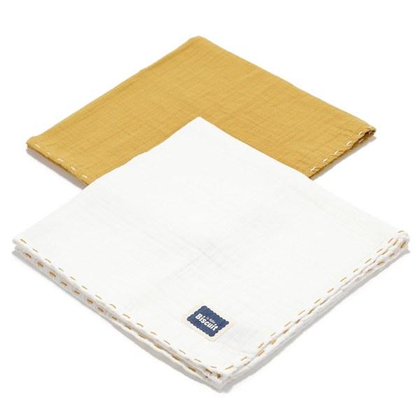La Millou Biscuit 100%純棉_餅乾紗布巾二入組50x50cm-大地黃