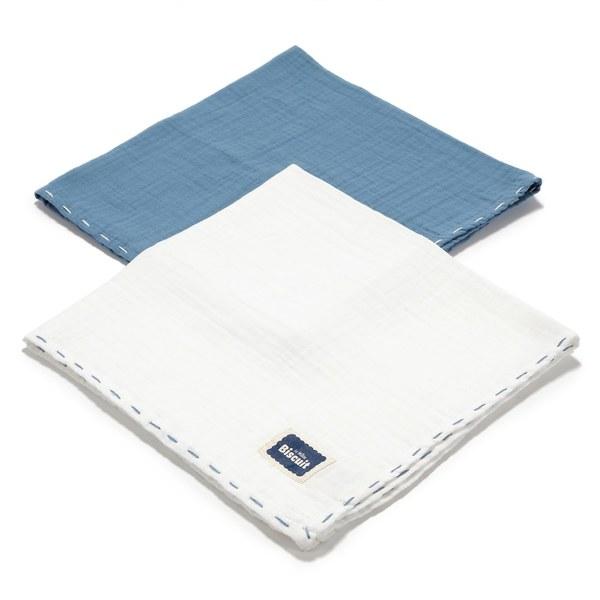 La Millou Biscuit 100%純棉_餅乾紗布巾二入組50x50cm-大地藍