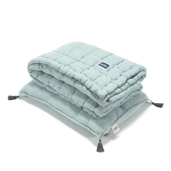 La Millou Biscuit 100%純棉_餅乾小童枕+紗布被套組-大地綠