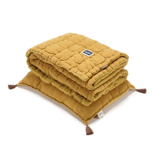 La Millou Biscuit 100%純棉_餅乾小童枕+紗布被套組-大地黃