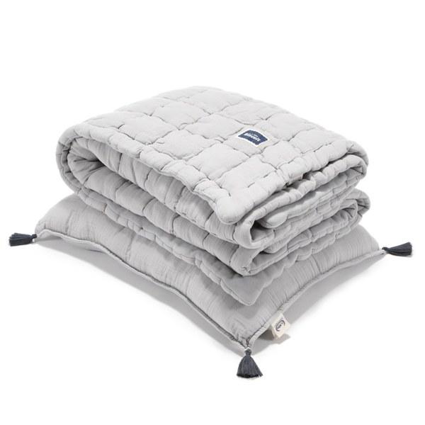 La Millou Biscuit 100%純棉_餅乾小童枕+紗布被套組-大地灰