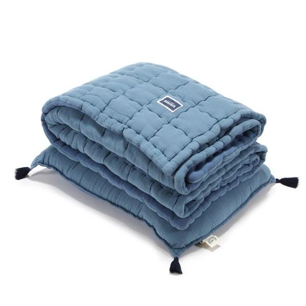 La Millou Biscuit 100%純棉_餅乾小童枕+紗布被套組-大地藍