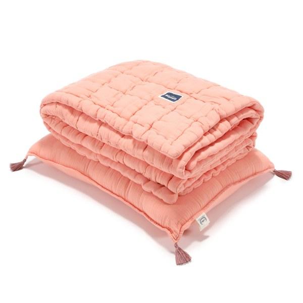 La Millou Biscuit 100%純棉_餅乾小童枕+紗布被套組-大地橘
