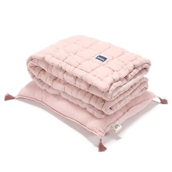 La Millou Biscuit 100%純棉_餅乾小童枕+紗布被套組-大地粉