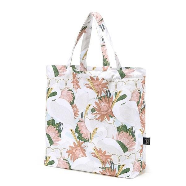 La Millou Feeria 多功能時尚媽媽購物袋-白鷺蓮花(粉底)