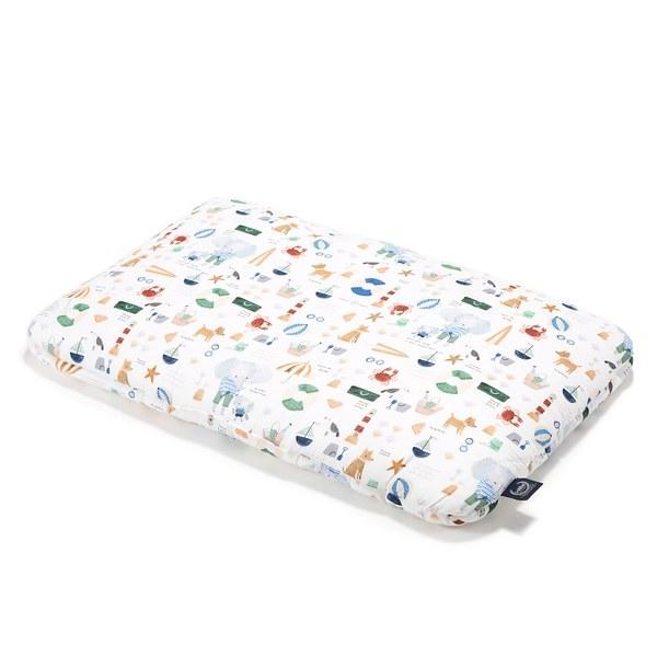 【預購商品,5/3起陸續出貨】La Millou 竹纖涼感小童枕加大-30 cm x 50 cm (海灘小象-藍)