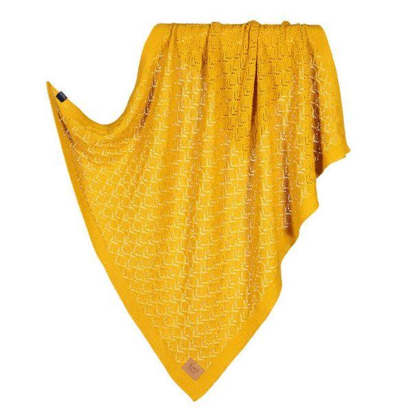 La Millou Tender 100%純棉針織毯(honey)80x90cm-芥茉黃