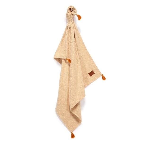 La Millou Tender 100%純棉針織毯(民族風)93x100cm-卡其黃