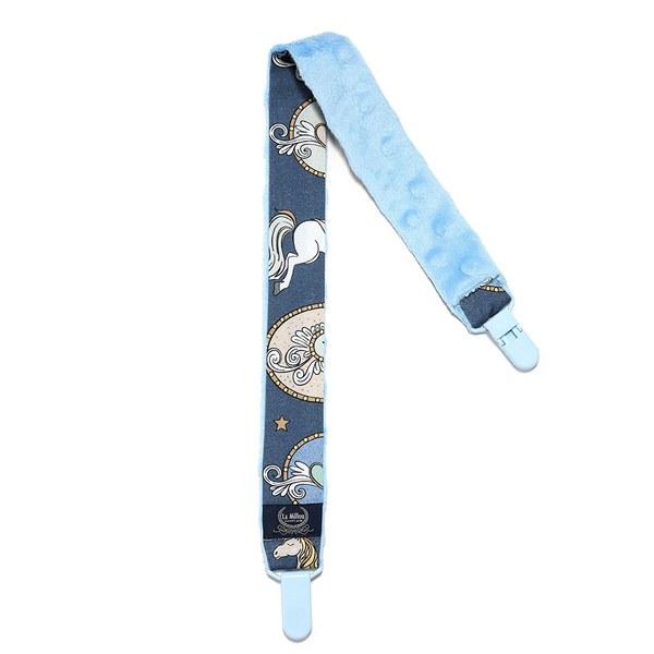 La Millou 豆豆多功能防掉安全夾(50cm)-旋轉小木馬(藍底)-蒙地卡羅藍