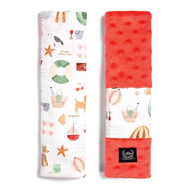 【預購商品,5/3起陸續出貨】La Millou Jersey豆豆安全帶保護套-海灘小象(紅)-粉橘小太陽