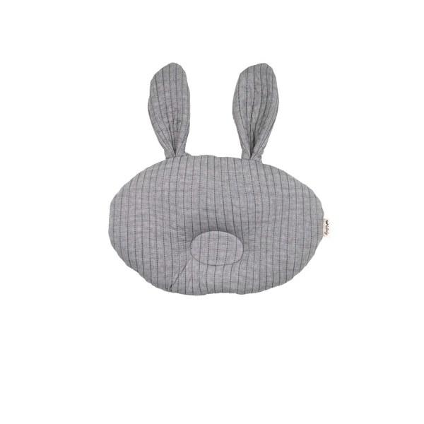 【韓國 lolbaby】3D立體純棉造型嬰兒枕(兔兔)-灰