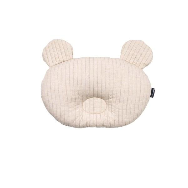 【韓國 lolbaby】3D立體純棉造型嬰兒枕_熊熊(米)