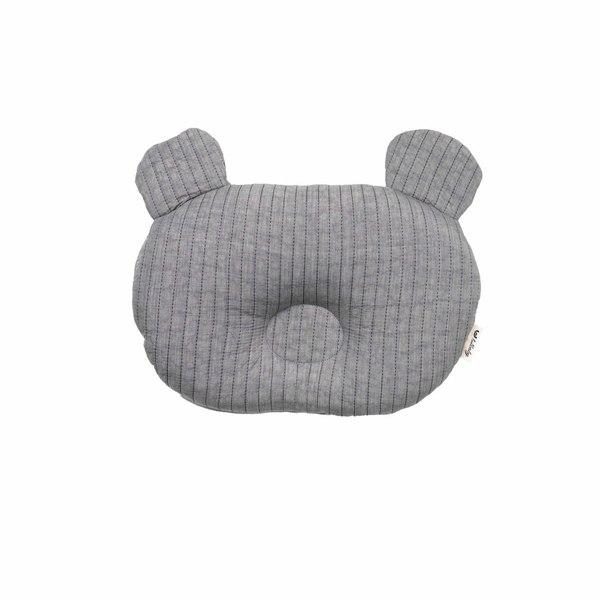 【韓國 lolbaby】3D立體純棉造型嬰兒枕_熊熊(灰)