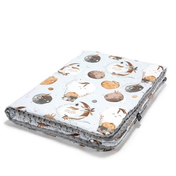 La Millou 暖膚豆豆毯(加大款)-夢精靈波西(藍底)-銀河星空灰