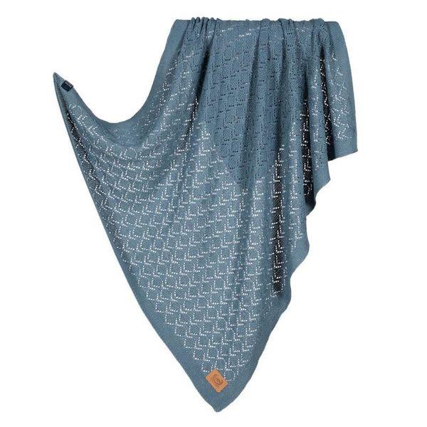 La Millou Tender 100%純棉針織毯(honey)80x90cm-紳士藍