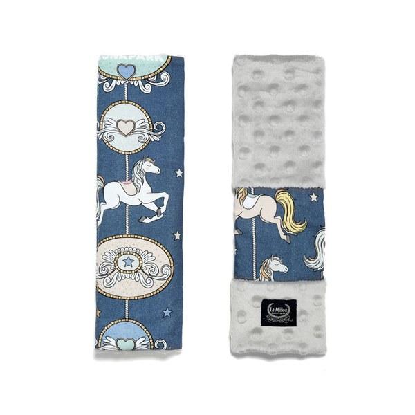 La Millou 安全帶保護套-旋轉小木馬(藍底)-牛奶星空灰