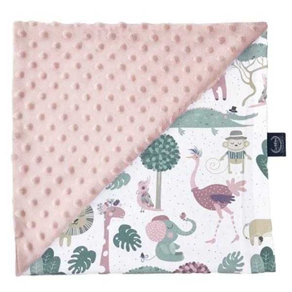 La Millou 單面巧柔豆豆毯-動物探險隊(粉底)-煙燻櫻花粉
