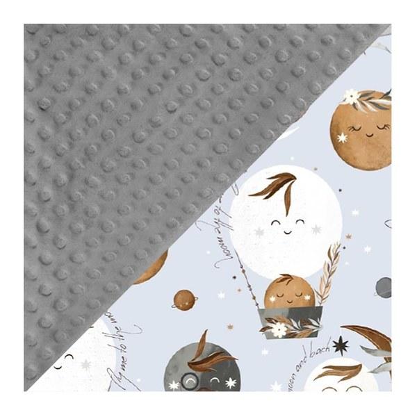 La Millou 單面巧柔豆豆毯(加大款)-夢精靈波西(藍底)-銀河星空灰