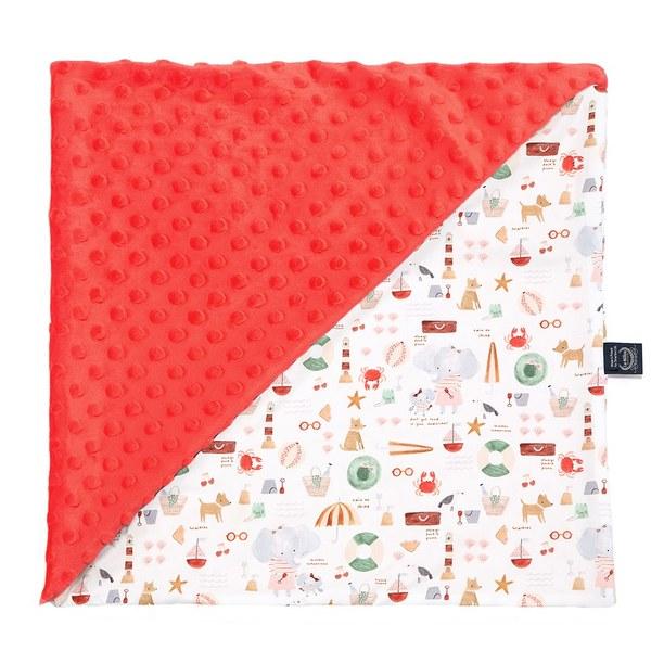 La Millou 單面巧柔豆豆毯-海灘小象(紅)-粉橘小太陽